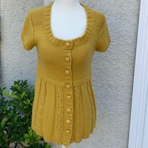 Kimchi Blue Yellow Snap Button Knit Sweater Size S